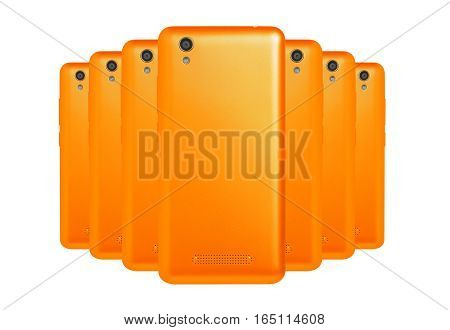 several mobile phones orange arranged one behind the other standing