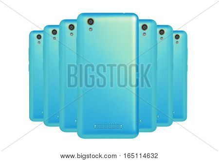 several mobile phones cyan  arranged one behind the other standing