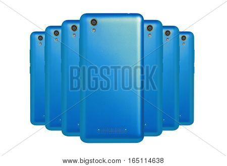 several mobile phones blue  arranged one behind the other standing