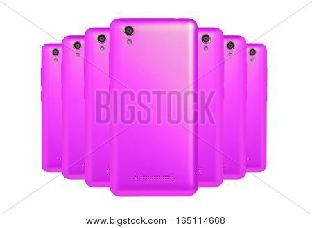 several mobile phones purple arranged one behind the other standing