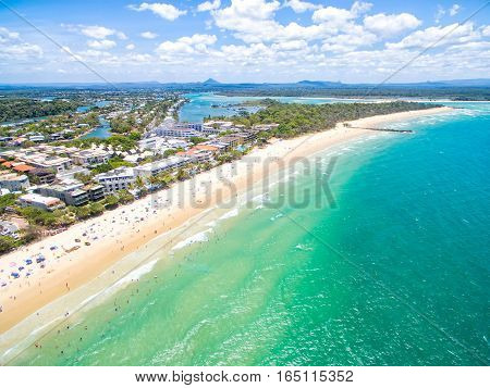 An aerial view of Main Beach at Noosa on Queensland's Sunshine Coast, Australia
