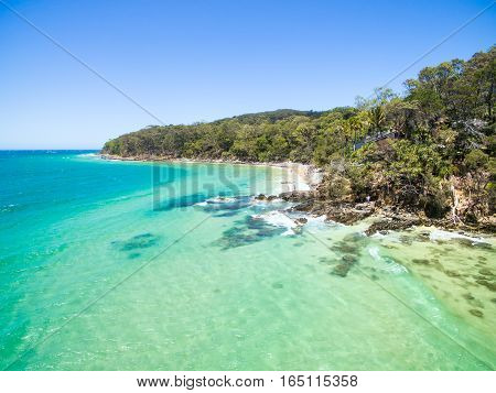 An aerial view of the incredible blue water of Noosa National park on Queensland's Sunshine Coast, Australia