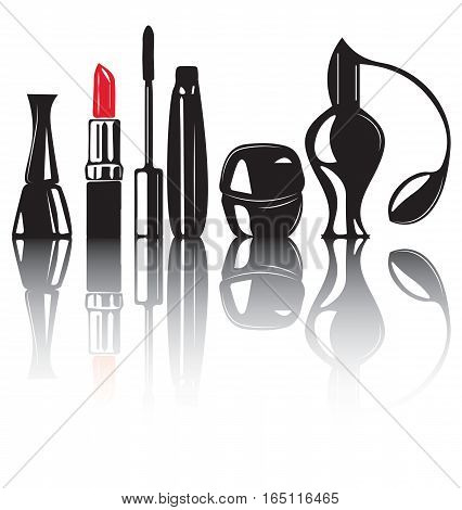 Decorative cosmetics products. Beauty Makeup cosmetic package set with place for text