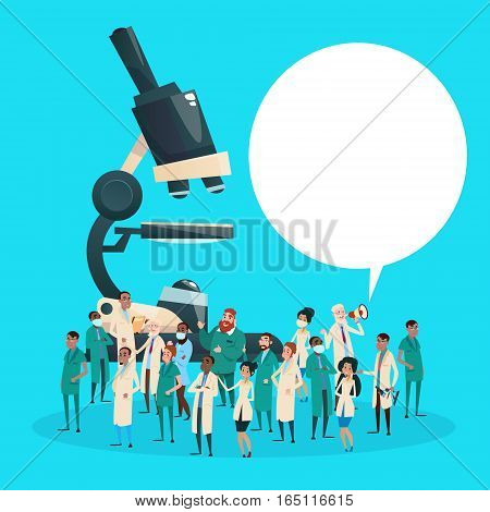 Group Medial Doctors Team Scientist Working Microscope Research Chemical Laboratory Flat Vector Illustration