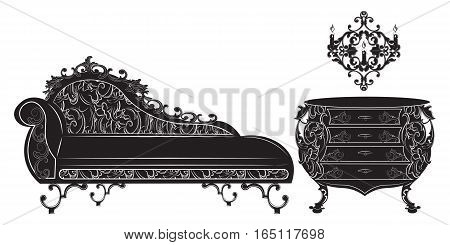 Rich Baroque furniture set collection. French Luxury rich carved ornaments decorated furniture. Vector Victorian Royal Style structure