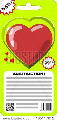Packaged for sale heart. Packaged for sale heart. Instructions for use of the heart, love. Buy, sell the heart, love.Transparency is not. No Gradients. All painted. Barcode and QR-code invented.