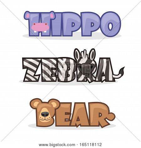cute cartoon wild animals, funny text name zebra, bear and hippopotamus