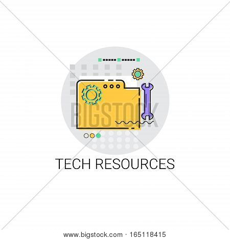 Technical Resources Equipment Business Production Icon Vector Illustration