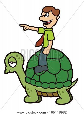 Businessman Riding Turtle Pointing Forward Cartoon Illustration Isolated on White