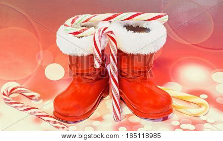 Red Santa Claus Boots With Candies, Lollipops, Shoes. Saint Nicholas Boots Gifts, Red Lights Bokeh B