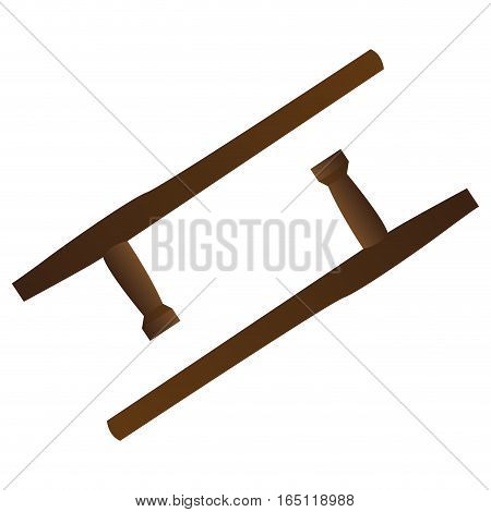 Isolated pair of wooden batons on a white background, Vector illustration