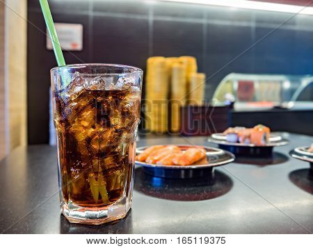 Cola In Glass Isolated On Food Background With Soft Focus