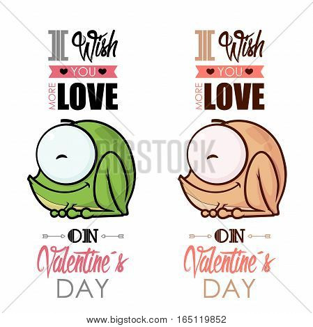 Valentines day greeting card set with funny animal character.