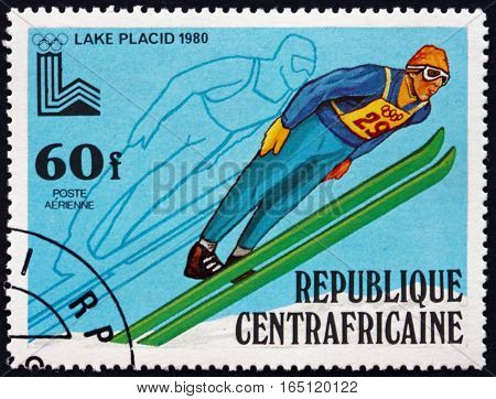 CENTRAL AFRICAN REPUBLIC - CIRCA 1979: a stamp printed in Central African Republic shows Ski Jump 13th Winter Olympics Games Lake Placid circa 1979