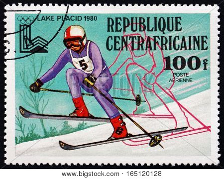 CENTRAL AFRICAN REPUBLIC - CIRCA 1979: a stamp printed in Central African Republic shows Downhill Skiing 13th Winter Olympics Games Lake Placid circa 1979