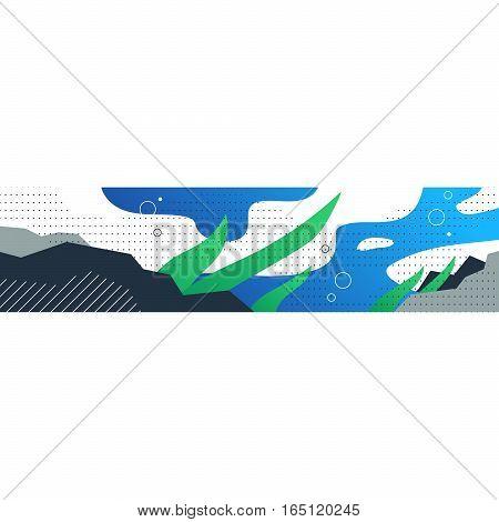 Underwater scene, sea bottom, abstract horizontal background, vector illustration