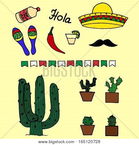 Colorful mexican pattern with hat, pepper, tequila, cactus and maracas