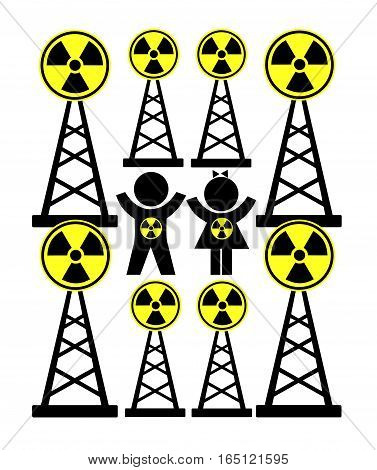 Dangerous Radiation Exposure. Health hazard for children from cellular phone or radio towers
