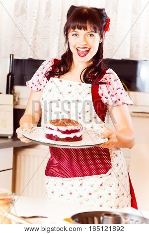 Photo of a vintage-style girl baking a cake