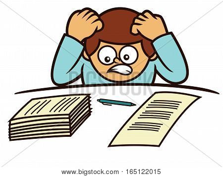 Depressed Office Worker Cartoon Illustration Isolated on White