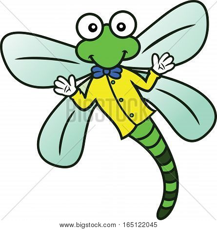 Dragonfly with Shirt and Bow Tie Cartoon Character Isolated on White
