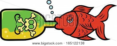 Fish Drinking Alcohol from Bottle Cartoon Illustration
