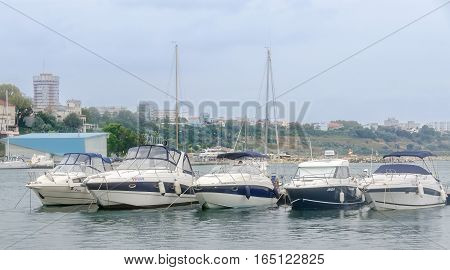 Constanta, Romania - September 3, 2014. The Docks (port) With Boats, Dockyard.
