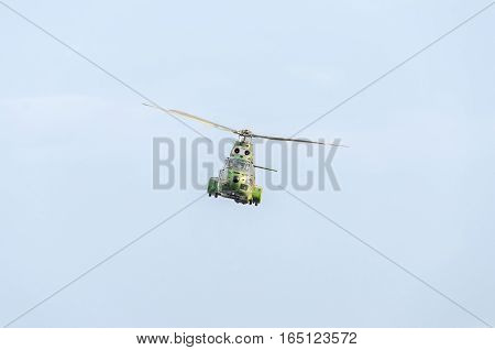 Bucharest, Romania - September 5, 2015. Aerobatic Elicopter Pilots Training In The Sky Of The City.