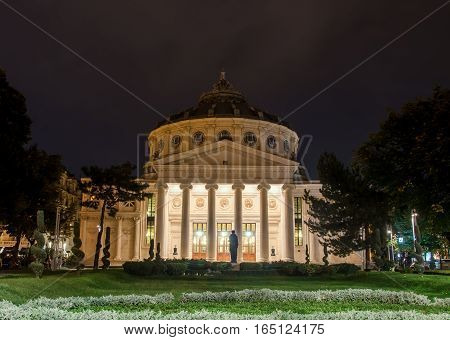 BUCHAREST ROMANIA - SEPTEMBER 26 2015. The neoclassical building called