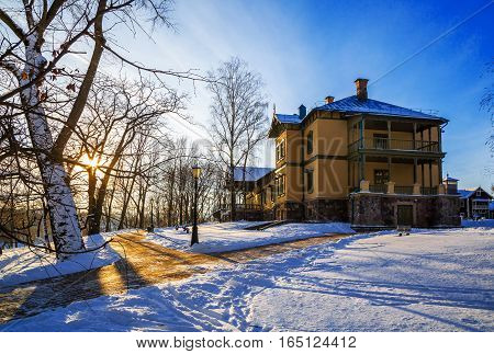 old manor in Loshitsa park Minsk Belarus winter January 9 2017 editorial