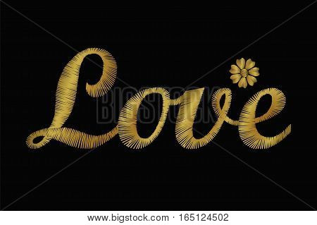 Embroidery Lettering Word Love. Golden Vector Valentine Day