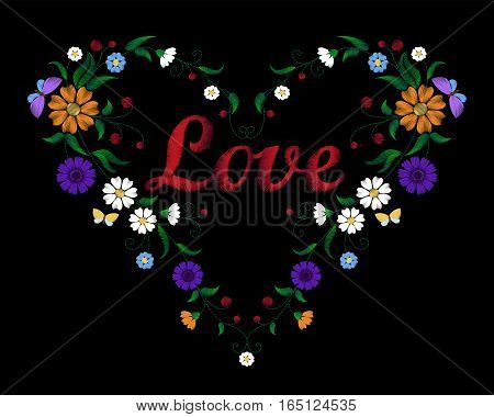 Embroidery Flower Heart With Lettering Word Love Valentine Day
