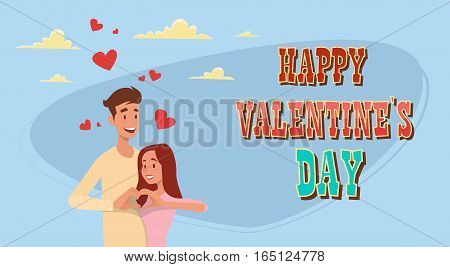 Valentine Day Holiday Couple Embrace Love Heart Shape Greeting Card Flat Vector Illustration