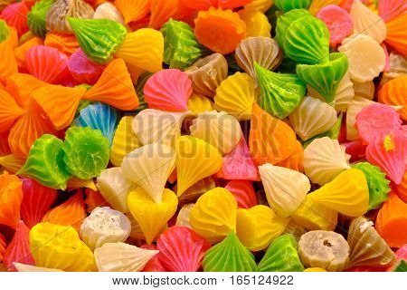 Aalaw candy colorful Thai dessert with sugar crust and soft chewy inside made from flourselective focus