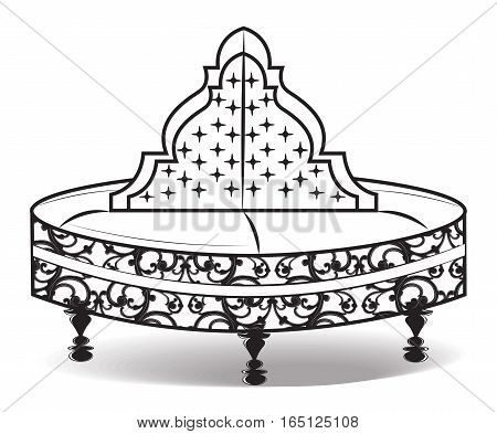 Vintage round sofa ornamented. Vector illustration isolated on white background. Vintage Gothic style furniture. Hermitage decorated collection