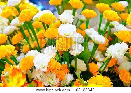Flowers yellow plastic sticks on nature background