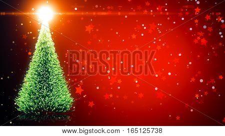 Christmas Tree With Shining Light, Falling Snowflakes