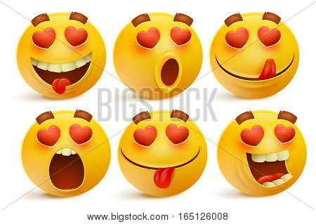 Valentines day emoticon icons Love emoji set isolated on white background vector illustration.