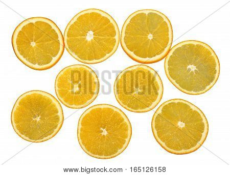 Fresh orange fruits slices isolated on white background