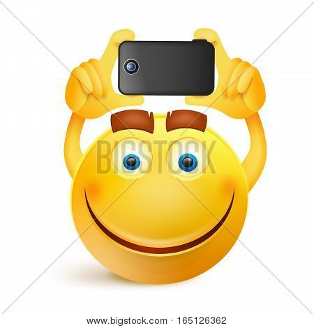 Yellow smiley face character with smart phone Vector illustration