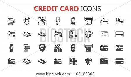 Simple modern set of credit card icons. eps 10