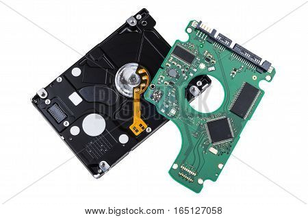 Hard Drive With Removed Printed Circuit Board Isolated On White