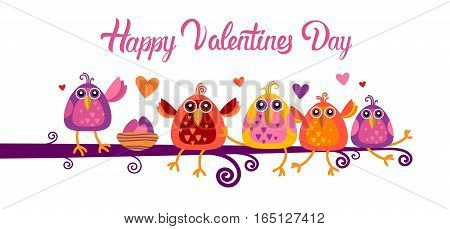 Valentine Day Gift Card Holiday Love Bird Heart Shape Banner With Copy Space Flat Vector Illustration