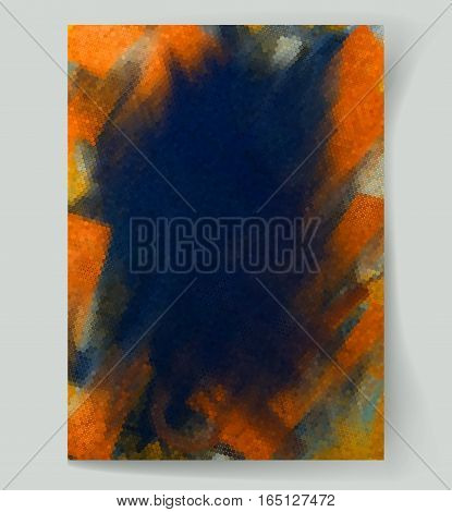 Abstract painting background with dark blue and orange spots. Vector illustration
