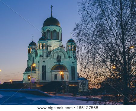 Temple in Yekaterinburg in the winter night