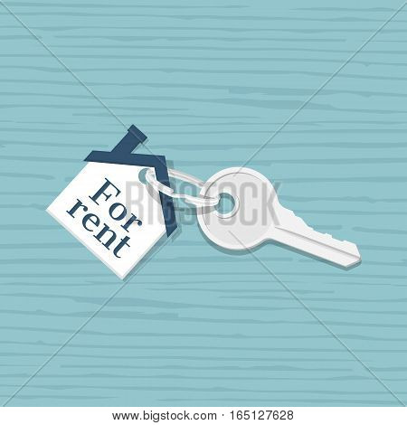 House key with trinket house shaped, isolated on a wooden table background. Rental estate. Sale property template. Vector illustration flat design. Tag as house.