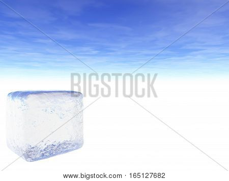 Illustration of an ice cube on a field of white with a partly cloudy sky