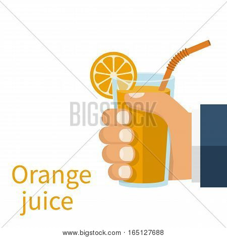 Orange juice in a glass cup hold in hand. Vector illustration flat design. Isolated on white background. Healthy food. Useful natural drink. Vitamin C.
