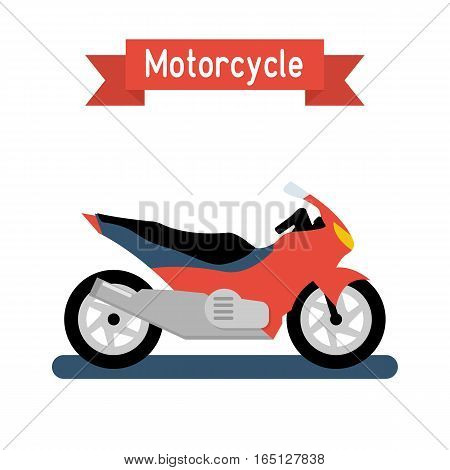 Motorcycle flat design, isolated on white background. Sport race motorbike. Vector illustration. Two-wheeled vehicles icon. High-speed transport.