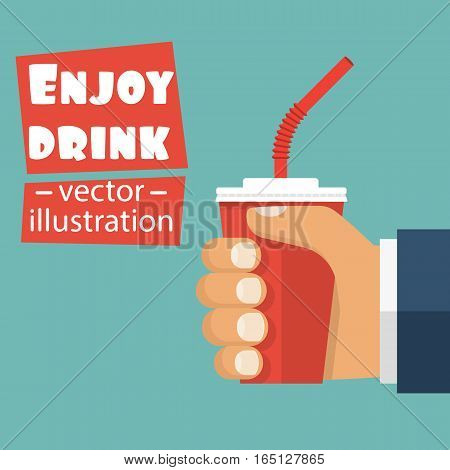 Red paper cup holding in hand man. Soda, cola in disposable cup. Enjoy cool drink concept. Vector illustration flat design. Isolated on white background.